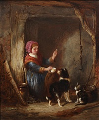 girl with a dog and cat in a cottage interior by william hemsley