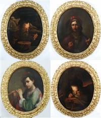 allegorie dei quattro sensi con strumenti musicali (4 works) by pietro paolini