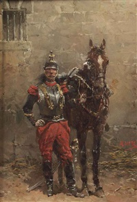 a french officer of the cuirassiers by hermanus willem koekkoek