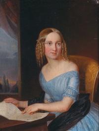 portrait einer sitzenden jungen dame by joseph haier