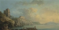 a view of the coast of posillipo and the bay of naples, with fishermen and other figures in the foreground, mount vesuvius in the distance by carlo bonavia