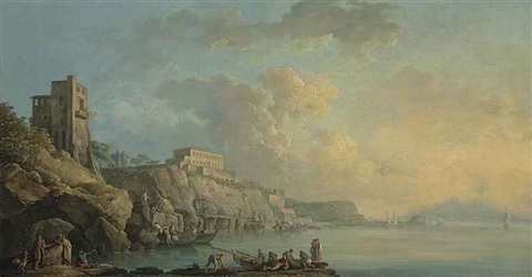 a view of the coast of posillipo and the bay of naples with fishermen and other figures in the foreground mount vesuvius in the distance by carlo bonavia