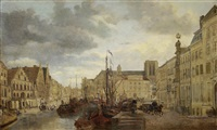 view of the river leie in ghent by françois jean louis boulanger