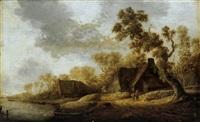 bauernhäuser an einem fluß mit reisenden und anglern by jan coelenbier