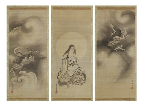 figures and dragons triptych by kano yasunobu