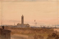 italienische landschaft mit romanischer kirche (+ altes bauerngehöft; 2 works) by gustav von gasteiger