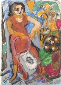 blumenfrau mit kinderwagen by wilhelm von hillern-flinsch