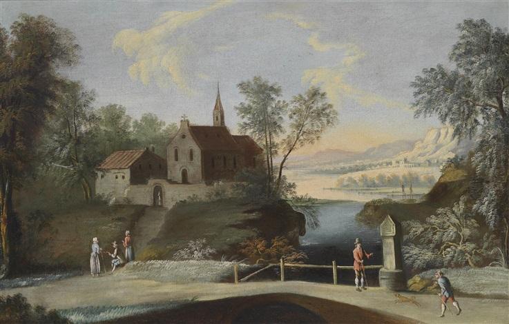 flusslandschaft mit einer kirche by anonymous 18