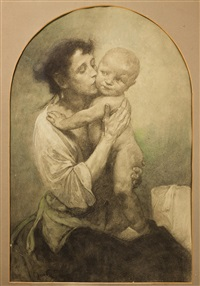 mother with child by alphonse mucha