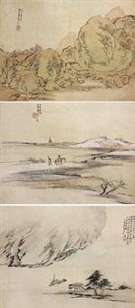 山水 (三幅) (3 works) by liang yuwei