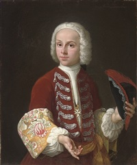 portrait of a youth of the order of malta, half-length, in a red velvet coat with silver frogging and embroidered cuffs, and a medallion of the order of malta, a tricorn in his left hand by antonio david