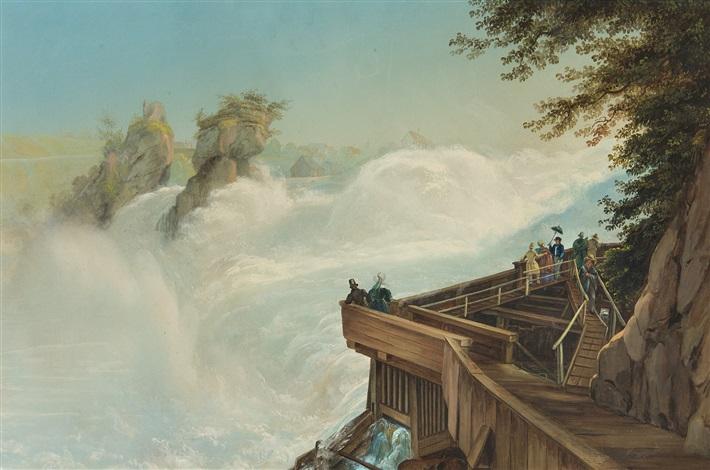 blick auf den rheinfall bei schaffhausen vue de la chute du rhin by johann ludwig louis bleuler