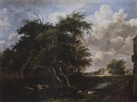 a wooded landscape with houses, sheep and a cow near a stream, and two shepherds paddling beyond by jan hulswit