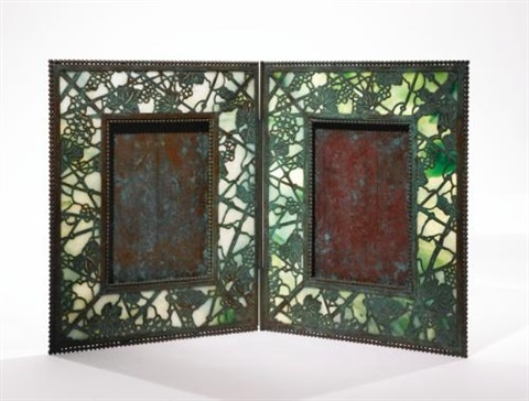 grapevine double photograph frame by tiffany studios