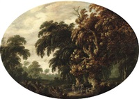 a wooded landscape with figures returning from the hunt by govert dircksz camphuysen