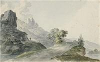 felsige landschaft mit ausblick in ein flußtal by johann jakob dorner the younger