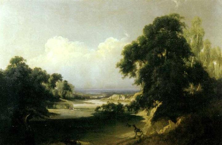 paesaggio fluviale con lavandaie by giuseppe camino
