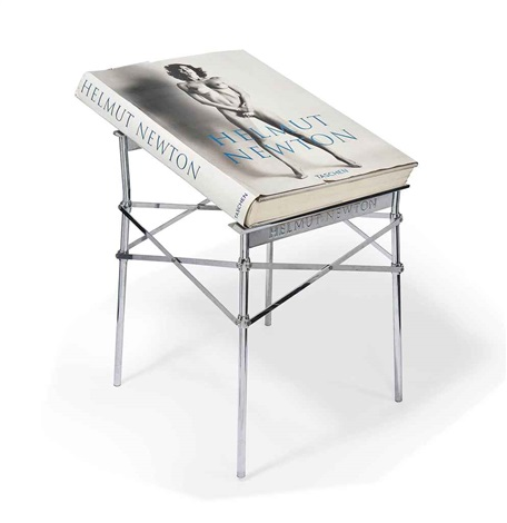 helmut newton wmetal stand designed by phillip stark by helmut newton