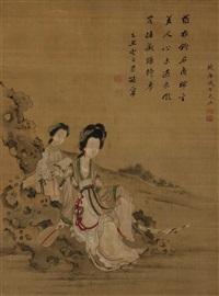 vornehme dame auf einem felsen sitzend, hinter ihr eine dienerin mit qin by qi youguang