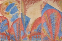 sept dormants d'ephese xii, orhid (triptych) by bernard metzger