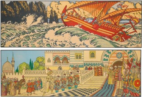 stories from the arabian nights depicting aladdin and the magic lamp and sinbad the sailor by ivan yakovlevich bilibin