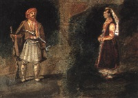 etude de costumes grecs by jules-robert (m. auguste) auguste