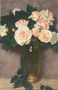still life - a glass vase of roses by georges paul leroux