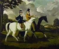couple riding in parkland by doris clare zinkeisen