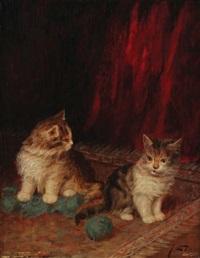 deux chats avec pelote de laine by jules leroy
