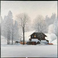 chalet sous la neige by claude sauthier