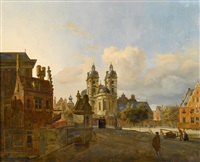 town scene with figures by johannes huibert (hendric) prins
