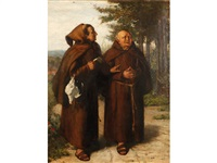 two friars walking and conversing in a landscape by charles trevor garland