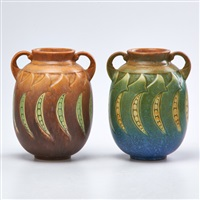 falline cabinet vases: one brown, one green (2 works) by roseville