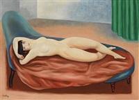 nu couché au drap rose by moïse kisling