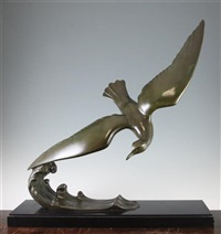 a french art deco patinated bronze model of a sea bird on the crest of a wave by l. alliot