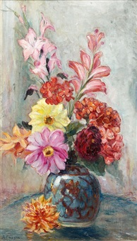 glaïeuls et dahlias dans un vase by henri lebasque