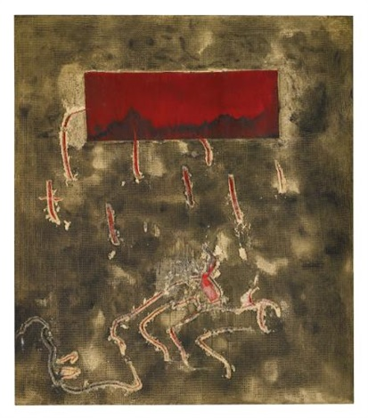 rectangle vermell by antoni tàpies