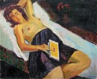 jeune femme au livre by simon claude (vanier) abramovitsch