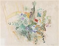bouquet de fleurs dans un vase, à la chaise by raoul dufy