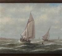 sailboats racing the wind by elbridge wesley webber