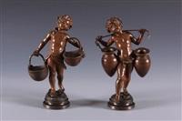 staand meisje met twee manden en staand jongetje met juk (pair) by auguste louis mathurin moreau