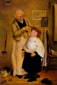 getting his hair cut by charles f. blauvelt