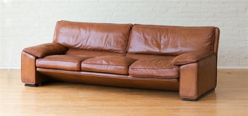 Ferruccio Brunati Italian Leather Sofa By Ferruccio Brunati