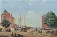 figures on a quay by a. de groote