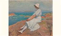 jeune femme au bord de la mer by roland lefranc