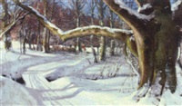 winter woodland scene with children by hans mortensen agersnap