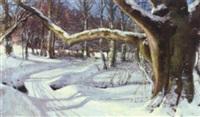 winter woodland scene with children by hans mortensen agersnap