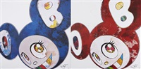 and then x6 (blue: superflat method); and then x6 (vermilion: the superflat method) (2 works) by takashi murakami