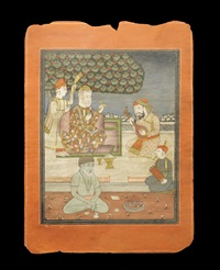 the sikh guru nanak seated on a terrace with mardana and other attendants, and an ascetic devotee by anonymous-indian (19)