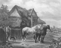 horses and stables with figures by charles towne the younger